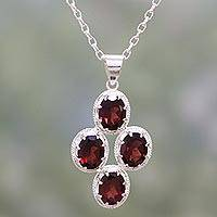 Garnet pendant necklace, 'Morning Crimson' - Modern Garnet and Sterling Silver Necklace from India