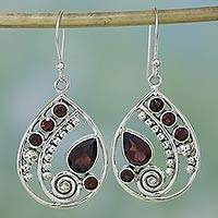 Garnet dangle earrings, 'Scarlet Dew' - Garnet and Sterling Silver Dangle Earrings from India
