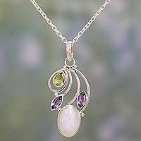 Multi-gemstone pendant necklace, 'Majestic Harmony' - Multi-Gem Peridot Amethyst and Rainbow Moonstone Necklace