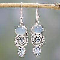 Blue topaz and chalcedony dangle earrings, 'Sentimental Journey' - Blue Topaz and Chalcedony Dangle Earrings from India