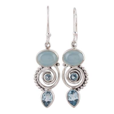 Handcrafted Blue Topaz and Chalcedony Indian Dangle Earring
