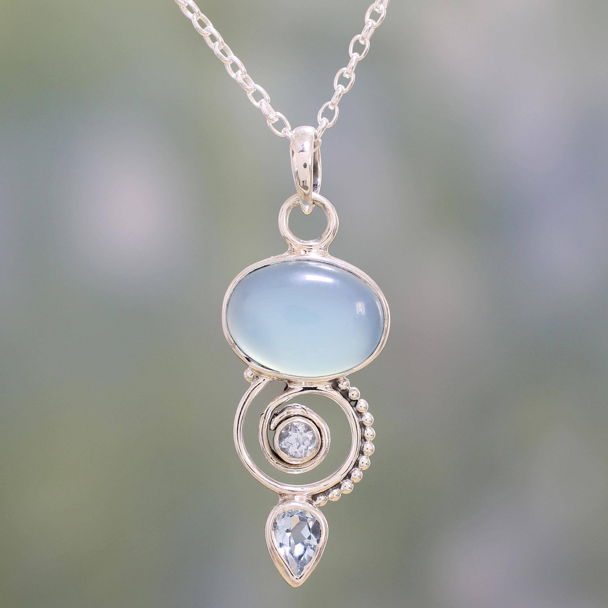 necklace silver sterling agate store pendant in blue chalcedony serenity