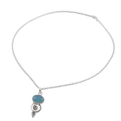 Blue Topaz and Chalcedony Pendant Necklace from India