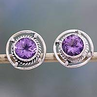 Amethyst stud earrings, 'Purple Wheels' - Amethyst and Sterling Silver Stud Earrings from India