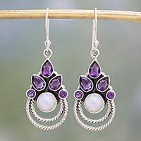 Amethyst and rainbow moonstone dangle earrings, 'Exotic Crowns' - Amethyst and Rainbow Moonstone Dangle Earrings from India