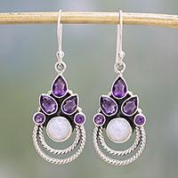 Amethyst and rainbow moonstone dangle earrings, 'Exotic Crowns' - Amethyst and Rainbow Moonstone Dangle Earrings from India