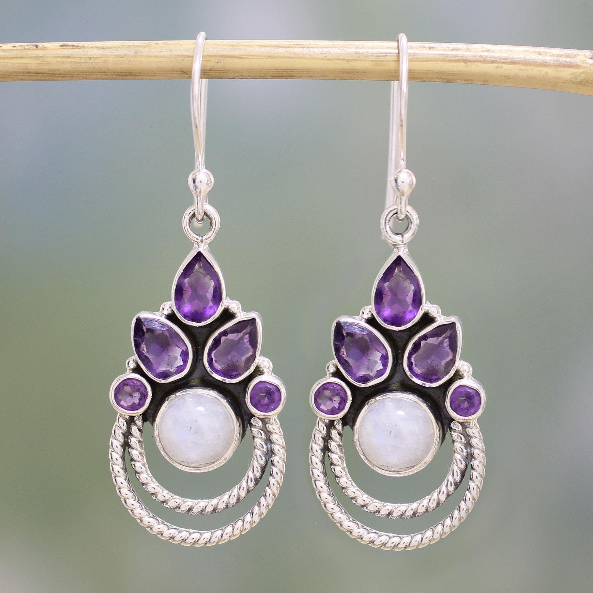 Details about  /Amethyst Earrings Amethyst Earrings Silver Rainbow Moonstone Earrings 5gm