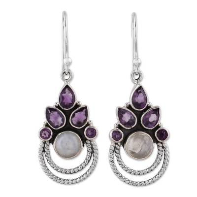 Amethyst and Rainbow Moonstone Dangle Earrings from India
