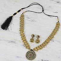 Terracotta jewelry set, 'Golden Fiesta' - India Golden Terracotta Statement Necklace and Earring Set