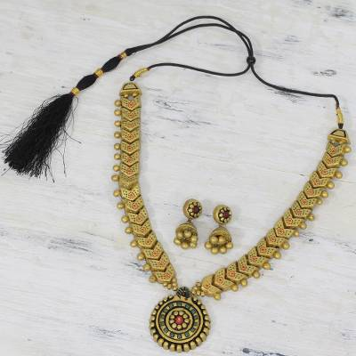 Novica Terracotta jewelry set, Golden Fiesta