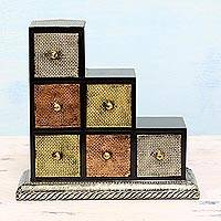 Wood and aluminum mini chest of drawers, 'Metallic Contrasts' - Artisan Crafted Repousse Decorative Box from India