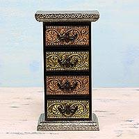 Wood and aluminum mini chest of drawers, 'Gleaming Blossoms' - Repousse Mini Chest of Drawers Decorative Box from India