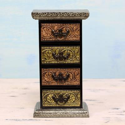 Repousse Mini Chest Of Drawers Decorative Box From India Gleaming Blossoms