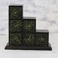 Wood and aluminum mini chest of drawers, 'Chartreuse Sextet' - Chartreuse Green Embossed Aluminum on Wood Mini-Box