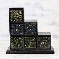 Wood and aluminum mini chest of drawers, 'Essential Blossoms' - Six -Drawer Repousse Floral Wood Mini Chest of Drawers
