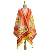 Silk shawl, 'Mount Harriet Sunrise' - 100% Silk Shawl in Peach Gold and Red with Leaf Theme