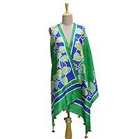 Silk shawl, 'A Heart For Nature' - Silk Shawl in Emerald with Hand-Painted Leaf Motifs