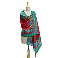 Silk shawl, 'Flower Bed' - Silk Shawl in Crimson with Hand-Painted Floral Motifs