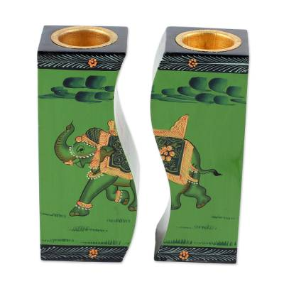Wood candle holders, 'Royal Miniature in Green' (pair) - Pair of Green Wood Elephant Candle Holders from India
