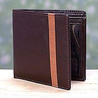 Men's leather wallet, 'Espresso Vitality' - Men's Espresso Brown Leather Wallet with Orange Accent