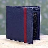 Men's leather wallet, 'Blue Vitality' - Men's Handcrafted Red Accent Navy Blue Leather Wallet