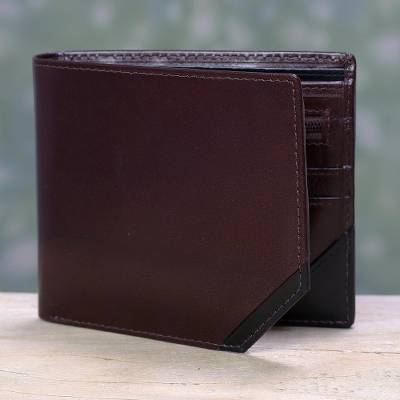 Mens leather wallet, Diagonal Two-Tone