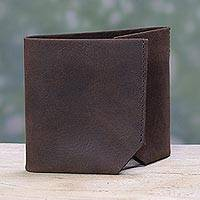 Men's leather wallet, 'Chestnut Trifold' - Handcrafted Trifold Chestnut Brown Men's Leather Wallet