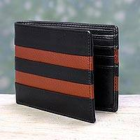 Men's leather wallet, 'Ebony Russet Pride' - Men's Russet Brown Accent Black Leather Wallet