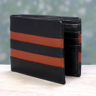 Mens leather wallet, Ebony Russet Pride