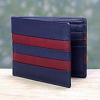 Men's leather wallet, 'Navy Red Pride' - Men's Red Accent Navy Blue Modern Leather Wallet