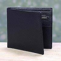 Men's leather wallet, 'Ebony Minimalist' - Handcrafted Slim and Compact Black Leather Wallet for Men