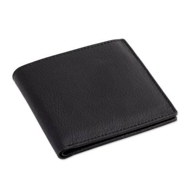 Handcrafted Slim and Compact Black Leather Wallet for Men