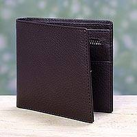 Men's leather wallet, 'Espresso Minimalist' - Modern Handcrafted Espresso Brown Leather Wallet for Men