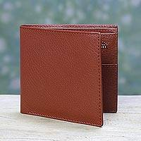 Men's leather wallet, 'Russet Minimalist' - Men's Lined Leather Wallet in Russet Brown from India