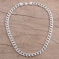 Men's sterling silver chain necklace, 'Debonair'