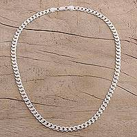 Men's chain necklace, 'Debonair Style' - Men's Sterling Silver Chain Necklace from India