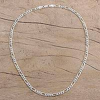 Men's sterling silver chain necklace, 'Modern Accent' - Men's Sterling Silver Chain Necklace from India