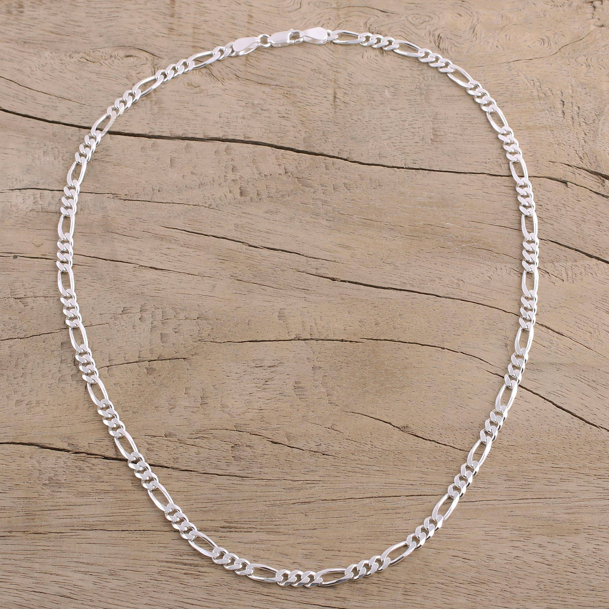41fe60059e Men's Sterling Silver Chain Necklace from India - Modern Accent | NOVICA
