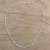 Men's chain necklace, 'Modern Style' - Men's Long Sterling Silver Chain Necklace from India