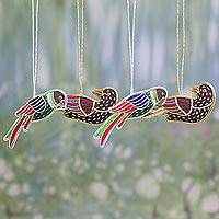 Cotton ornaments, 'Cheerful Birds' (set of 4) - Embroidered Cotton Bird Ornaments from India (Set of 4)