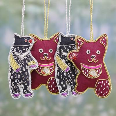 Cotton ornaments, 'Dancing Animals' (set of 4) - Cotton Bear and Cat Ornaments from India (Set of 4)