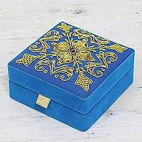 Embroidered velvet box, 'Royal Sky' - Blue Embroidered Decorative Wood Box from India