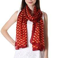 Silk shawl, 'Claret Steps' - Silk Shawl with Claret Geometric Motifs from India