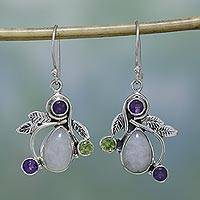 Rainbow moonstone dangle earrings, 'Luminous Beauty' - Rainbow Moonstone, Amethyst and Peridot Earrings from India
