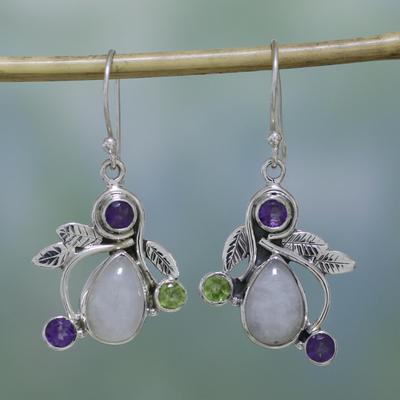 Rainbow Moonstone Dangle Earrings Luminous Beauty Amethyst And Peridot