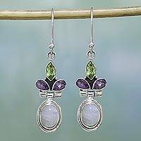 Rainbow moonstone dangle earrings, 'Eternal Charisma' - Rainbow Moonstone, Amethyst and Peridot Earrings from India