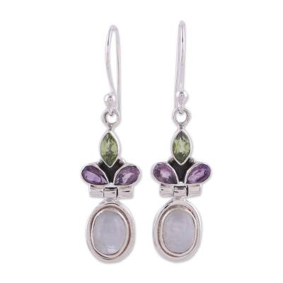 Rainbow Moonstone, Amethyst and Peridot Earrings from India