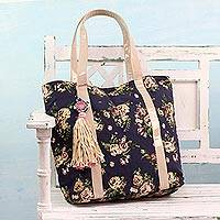 Cotton tote handbag, 'Garden of Roses' - Indigo Cotton Tote Handbag with Floral Print from India