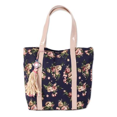 Novica Cotton tote handbag, Garden of Roses
