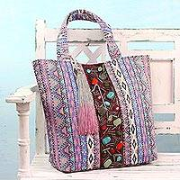 Cotton tote handbag, 'Shimmering Beauty' - Multicolor Beaded Cotton Tote Handbag from India